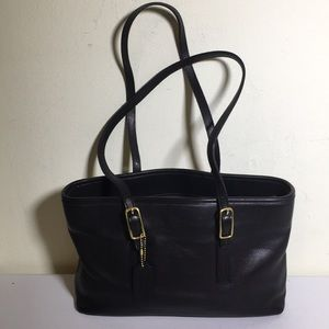 Coach black leather tote VTG